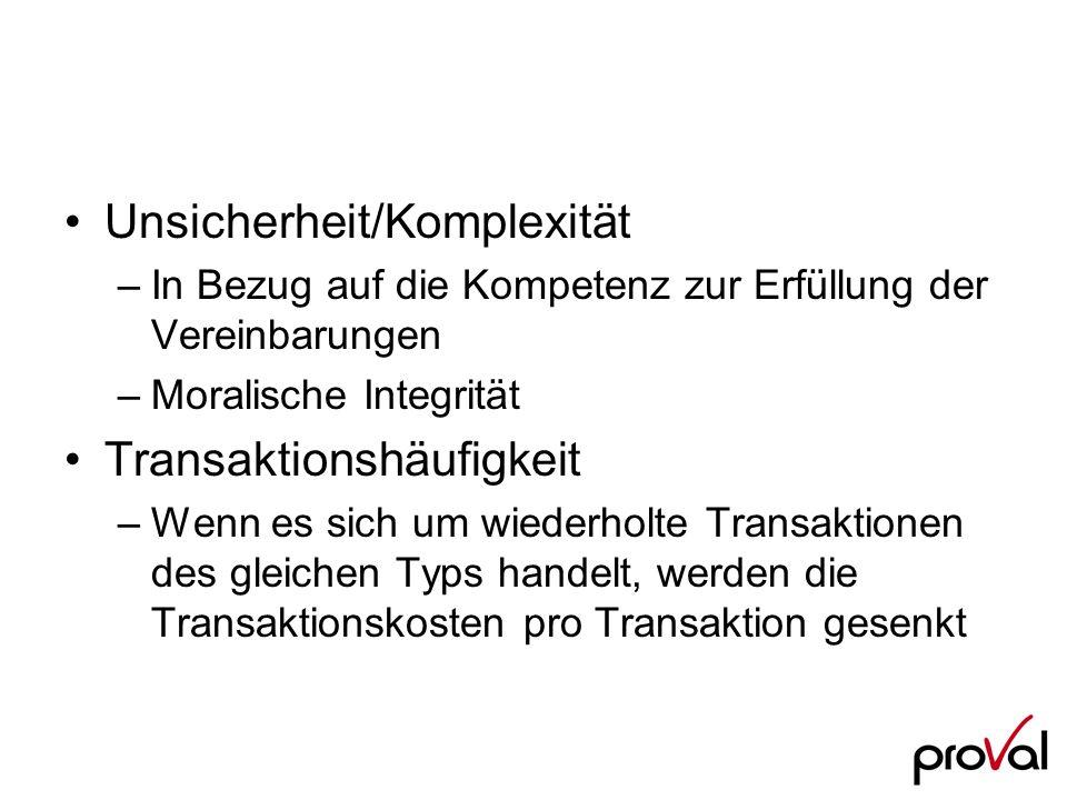Unsicherheit/Komplexität –In Bezug auf die Kompetenz zur Erfüllung der Vereinbarungen –Moralische Integrität Transaktionshäufigkeit –Wenn es sich um w