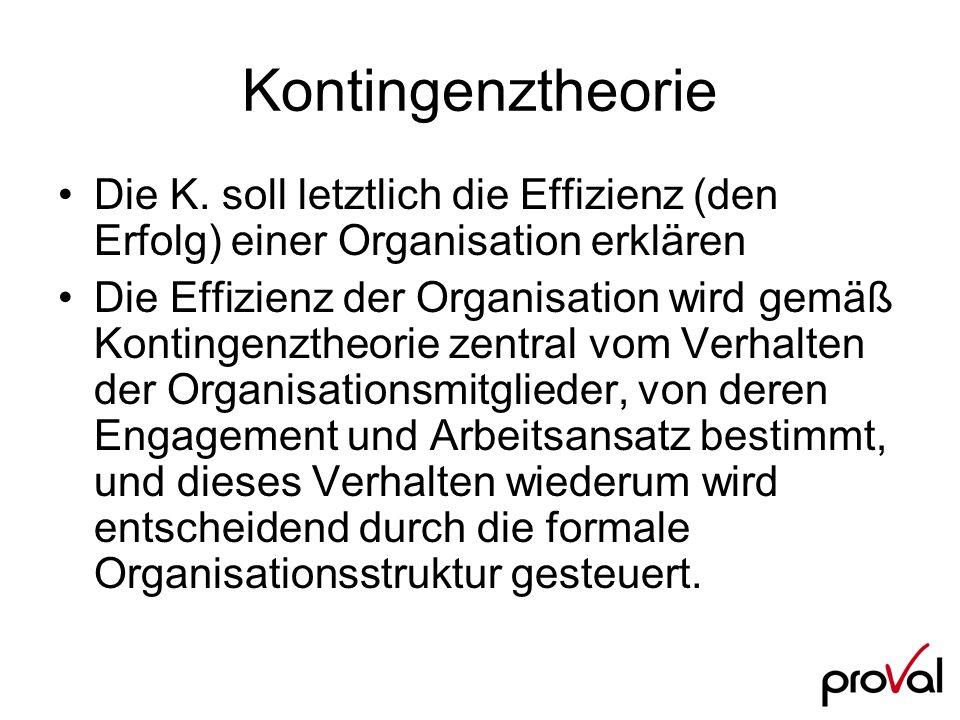 Kontingenztheorie Die K. soll letztlich die Effizienz (den Erfolg) einer Organisation erklären Die Effizienz der Organisation wird gemäß Kontingenzthe
