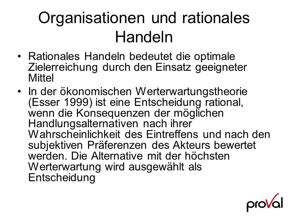Organisationen und rationales Handeln Rationales Handeln bedeutet die optimale Zielerreichung durch den Einsatz geeigneter Mittel In der ökonomischen