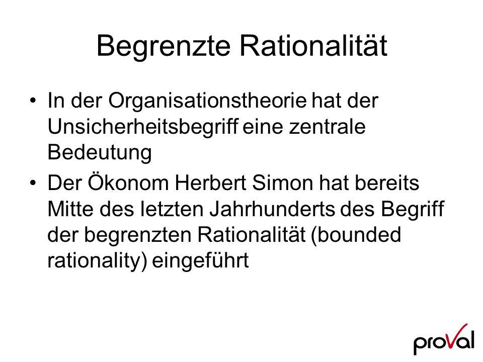 Begrenzte Rationalität In der Organisationstheorie hat der Unsicherheitsbegriff eine zentrale Bedeutung Der Ökonom Herbert Simon hat bereits Mitte des