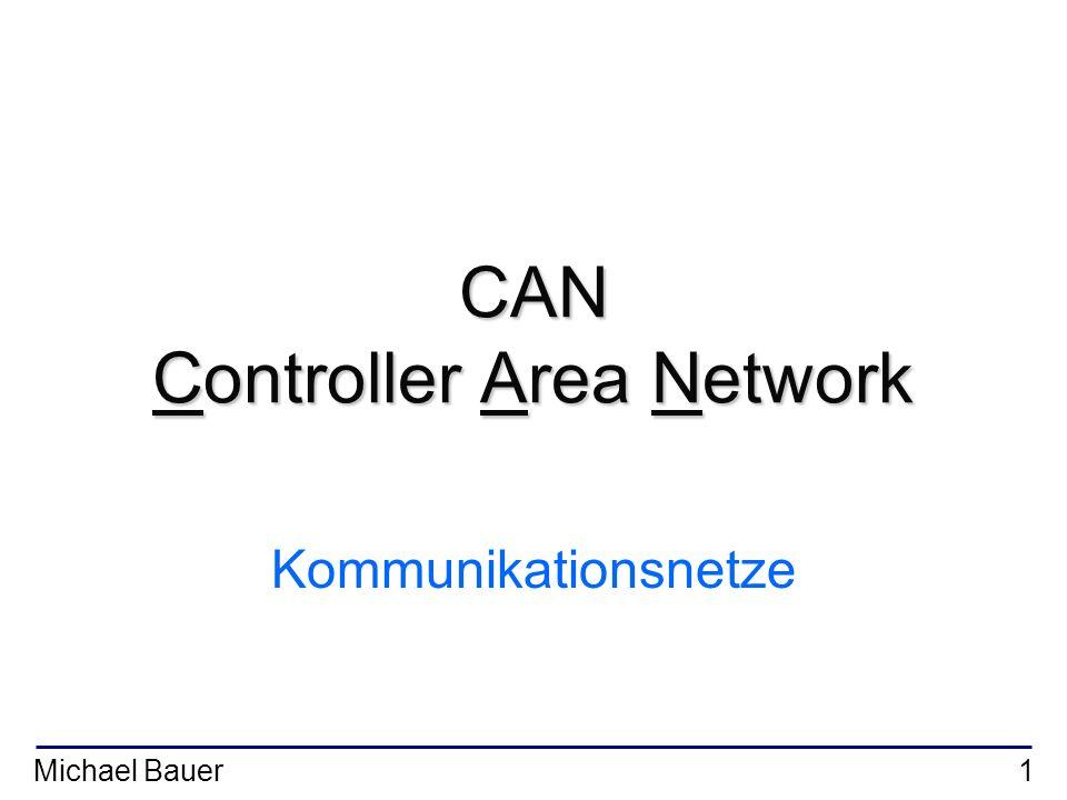 Michael Bauer2 Gliederung I.Einleitung II.Grundlegende Eigenschaften des CAN Protokolls III.Aufbau eines Datenframes IV.Bitweise Arbitrierung V.Fehlererkennung und Fehlerbehandlung