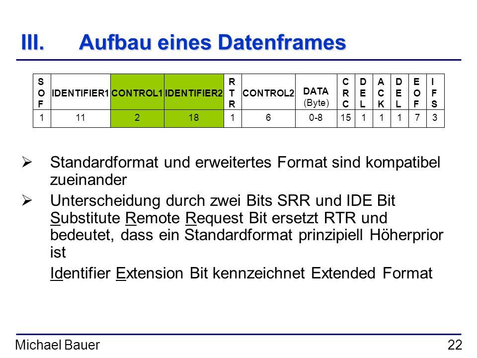 Michael Bauer22 III.Aufbau eines Datenframes Standardformat und erweitertes Format sind kompatibel zueinander Unterscheidung durch zwei Bits SRR und I