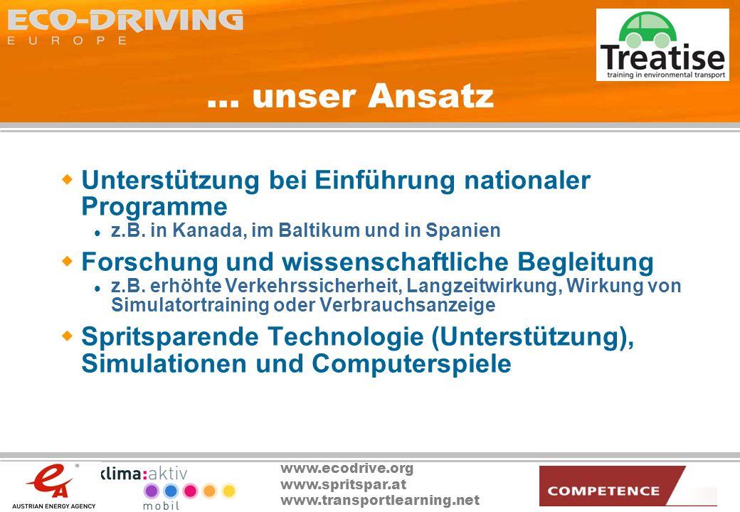 www.ecodrive.org www.spritspar.at www.transportlearning.net... unser Ansatz Unterstützung bei Einführung nationaler Programme z.B. in Kanada, im Balti