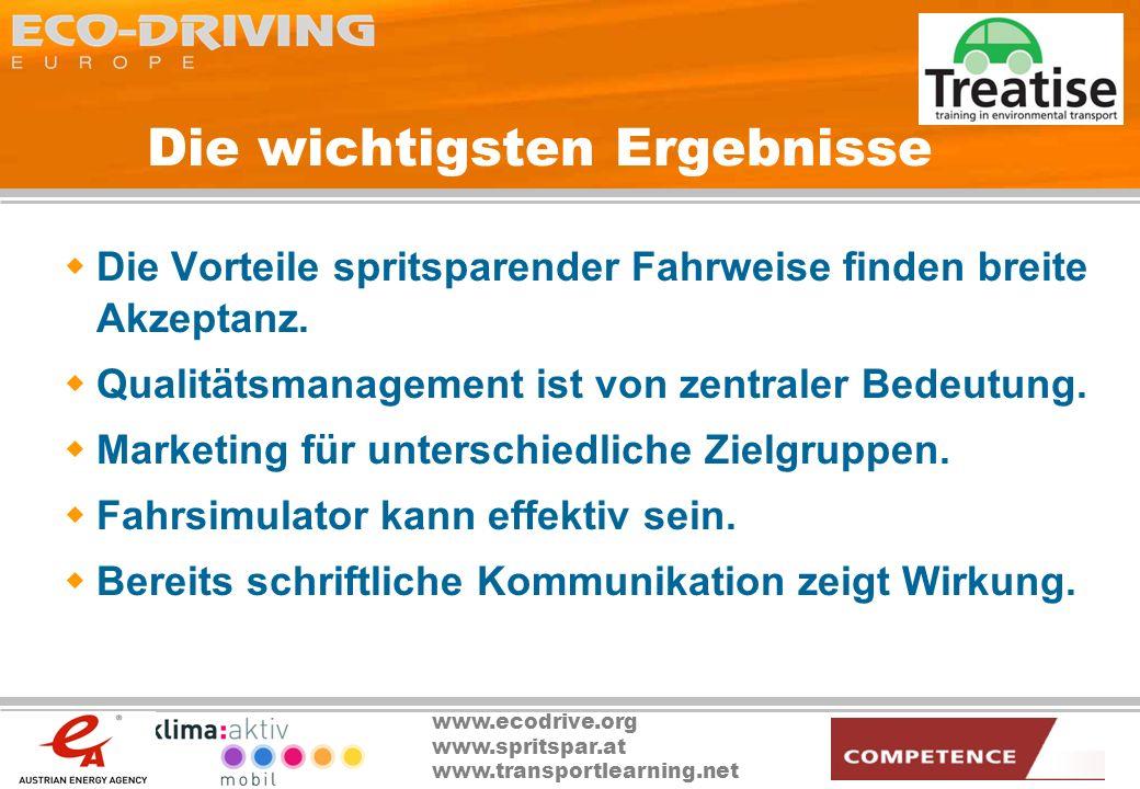 www.ecodrive.org www.spritspar.at www.transportlearning.net Die wichtigsten Ergebnisse Die Vorteile spritsparender Fahrweise finden breite Akzeptanz.