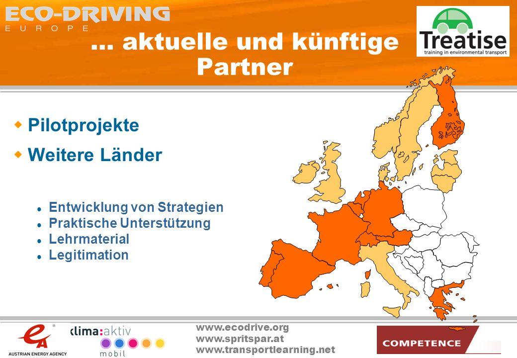 www.ecodrive.org www.spritspar.at www.transportlearning.net... aktuelle und künftige Partner Pilotprojekte Weitere Länder Entwicklung von Strategien P