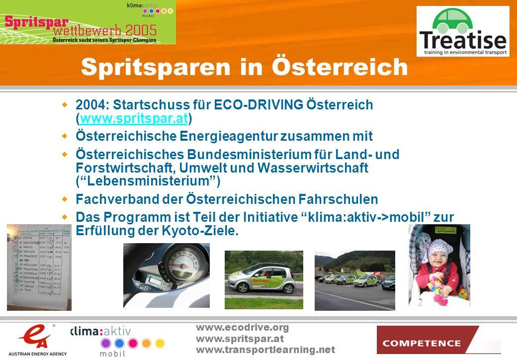 www.ecodrive.org www.spritspar.at www.transportlearning.net Spritsparen in Österreich 2004: Startschuss für ECO-DRIVING Österreich (www.spritspar.at)w