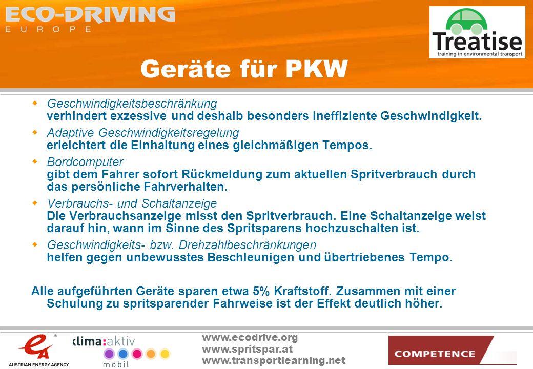 www.ecodrive.org www.spritspar.at www.transportlearning.net Geräte für PKW Geschwindigkeitsbeschränkung verhindert exzessive und deshalb besonders ine