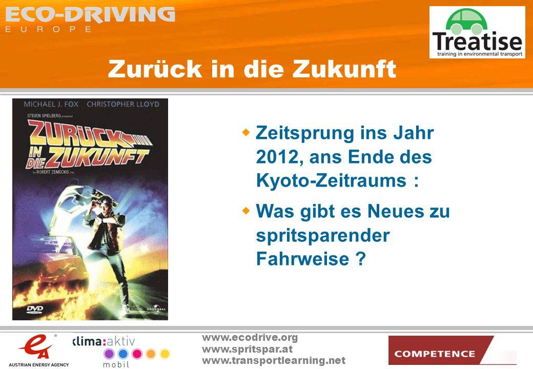 www.ecodrive.org www.spritspar.at www.transportlearning.net Zurück in die Zukunft Zeitsprung ins Jahr 2012, ans Ende des Kyoto-Zeitraums : Was gibt es