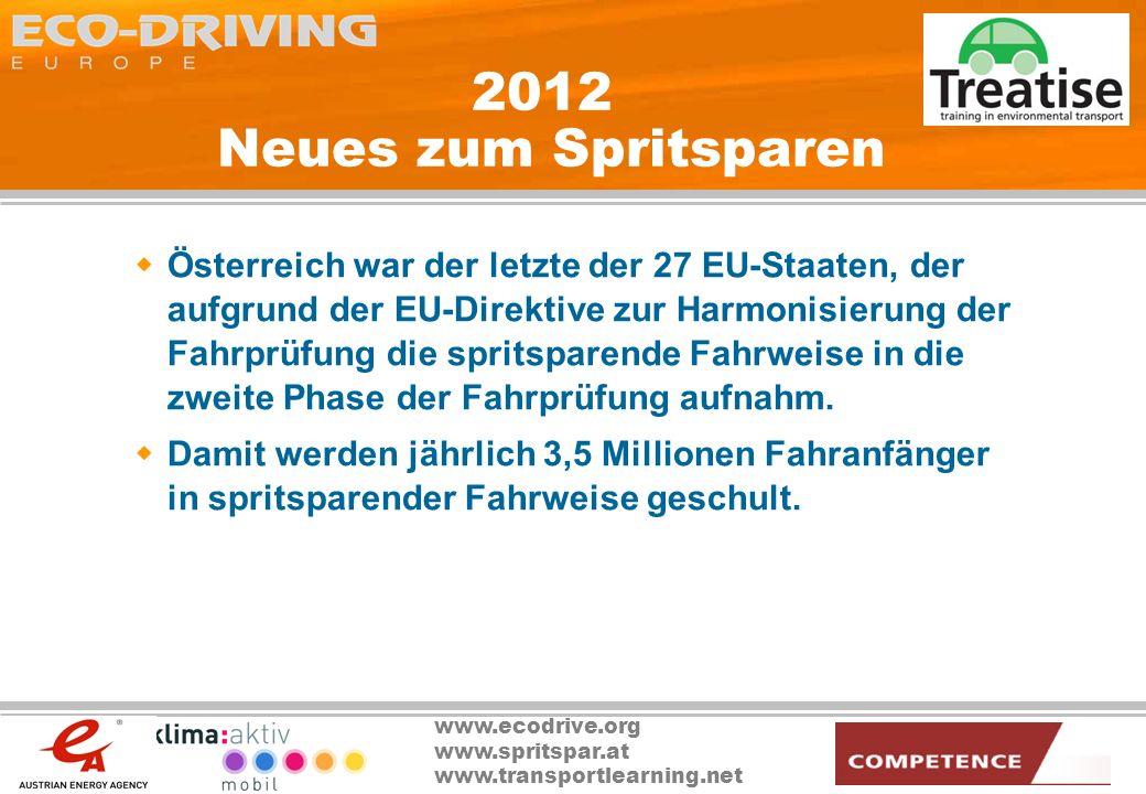 www.ecodrive.org www.spritspar.at www.transportlearning.net 2012 Neues zum Spritsparen Österreich war der letzte der 27 EU-Staaten, der aufgrund der E