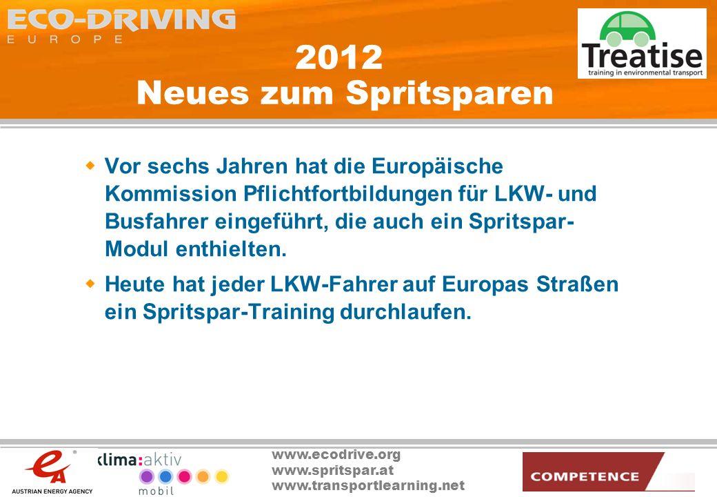www.ecodrive.org www.spritspar.at www.transportlearning.net 2012 Neues zum Spritsparen Vor sechs Jahren hat die Europäische Kommission Pflichtfortbild