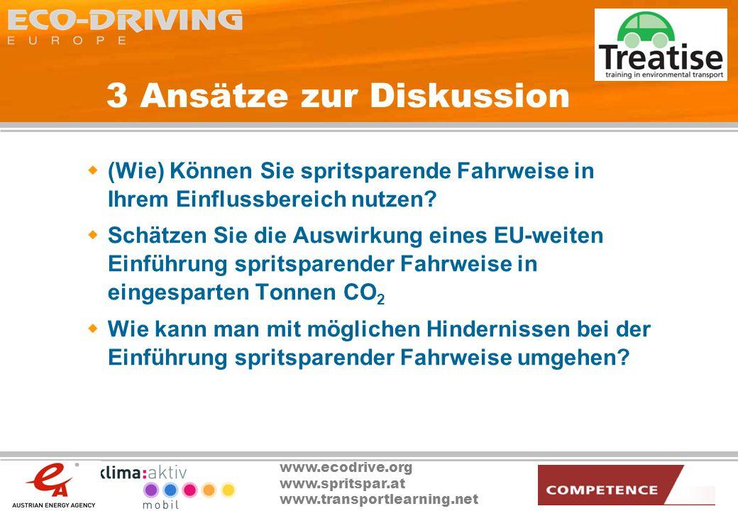 www.ecodrive.org www.spritspar.at www.transportlearning.net 3 Ansätze zur Diskussion (Wie) Können Sie spritsparende Fahrweise in Ihrem Einflussbereich