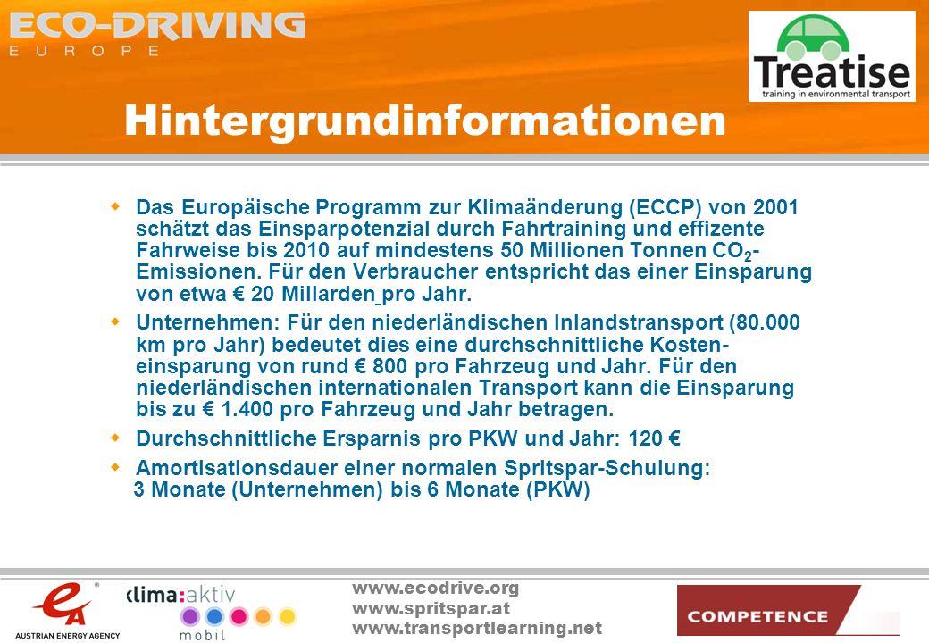 www.ecodrive.org www.spritspar.at www.transportlearning.net Hintergrundinformationen Das Europäische Programm zur Klimaänderung (ECCP) von 2001 schätz