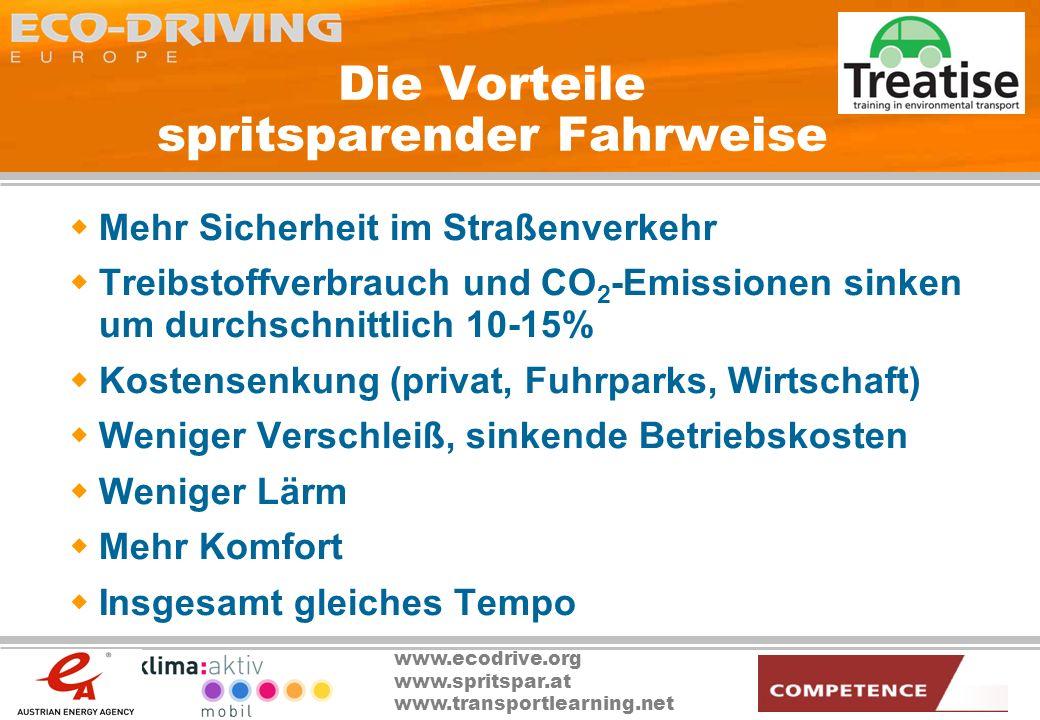 www.ecodrive.org www.spritspar.at www.transportlearning.net Die Vorteile spritsparender Fahrweise Mehr Sicherheit im Straßenverkehr Treibstoffverbrauc