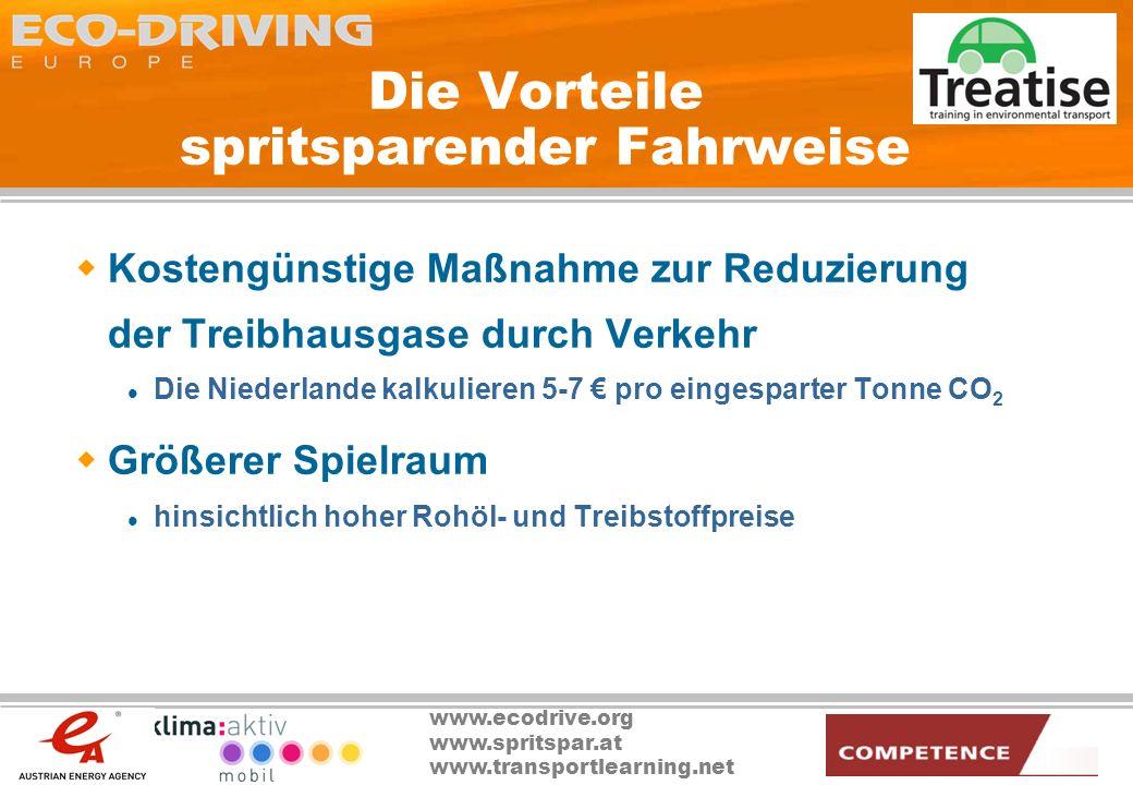 www.ecodrive.org www.spritspar.at www.transportlearning.net Die Vorteile spritsparender Fahrweise Kostengünstige Maßnahme zur Reduzierung der Treibhau