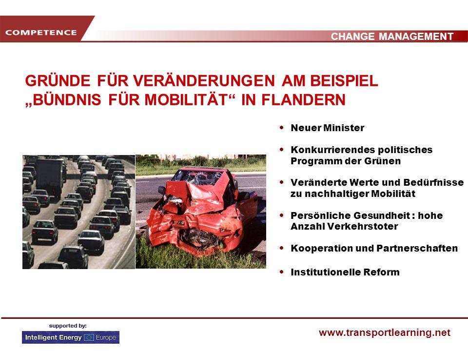 CHANGE MANAGEMENT www.transportlearning.net GRÜNDE FÜR VERÄNDERUNGEN