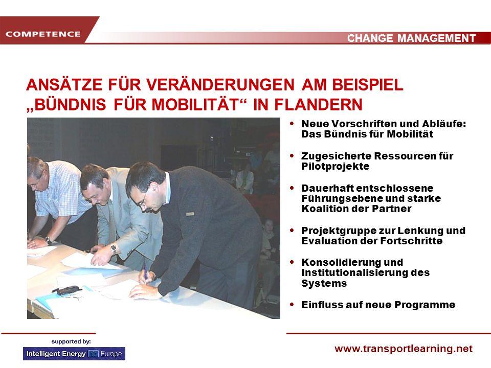 CHANGE MANAGEMENT www.transportlearning.net ANSÄTZE FÜR VERÄNDERUNGEN