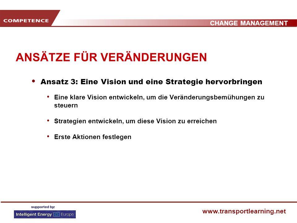 CHANGE MANAGEMENT www.transportlearning.net ANSÄTZE FÜR VERÄNDERUNGEN Ansatz 2: Starke Führung bieten & Koalition der Partner schmieden Eine Gruppe zu