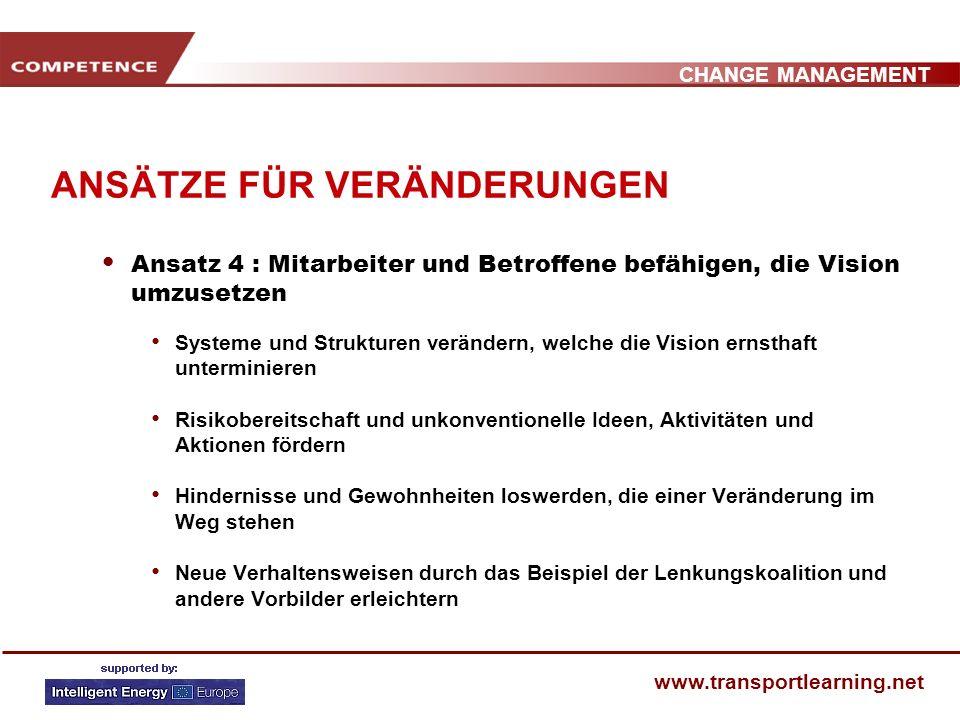 CHANGE MANAGEMENT www.transportlearning.net ANSÄTZE FÜR VERÄNDERUNGEN Ansatz 3: Eine Vision und eine Strategie hervorbringen Eine klare Vision entwick
