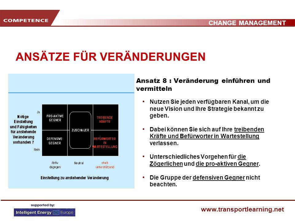 CHANGE MANAGEMENT www.transportlearning.net ANSÄTZE FÜR VERÄNDERUNGEN Ansatz 7 : Neue Vorgehensweise evaluieren, konsolidieren und institutionalisiere