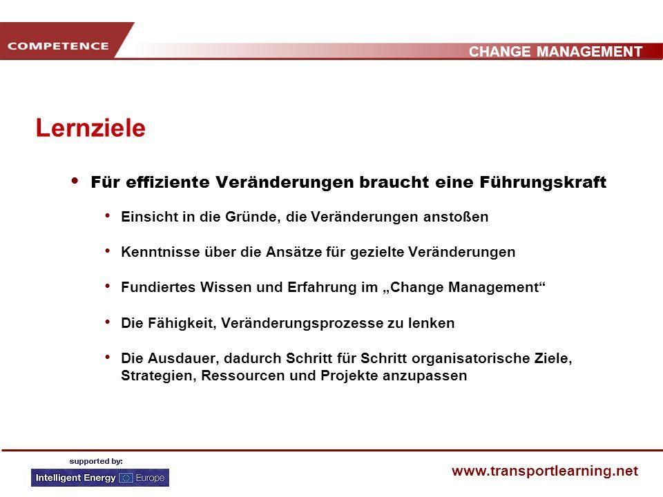 CHANGE MANAGEMENT www.transportlearning.net SEMINARAUFBAU 1. Veränderung psychologisch betrachtet 2. Warum verändern? Gründe für Veränderungen 3. Wie