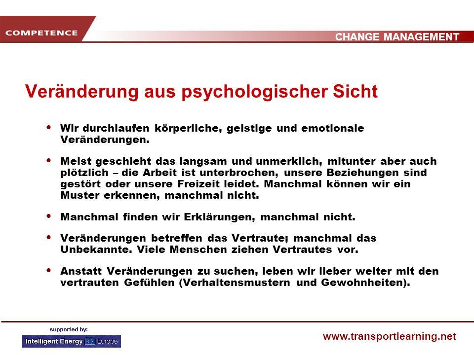 CHANGE MANAGEMENT www.transportlearning.net SEMINARAUFBAU 1. Veränderung aus psycholgischer Sicht 2. Warum verändern? Gründe für Veränderungen 3. Ansä