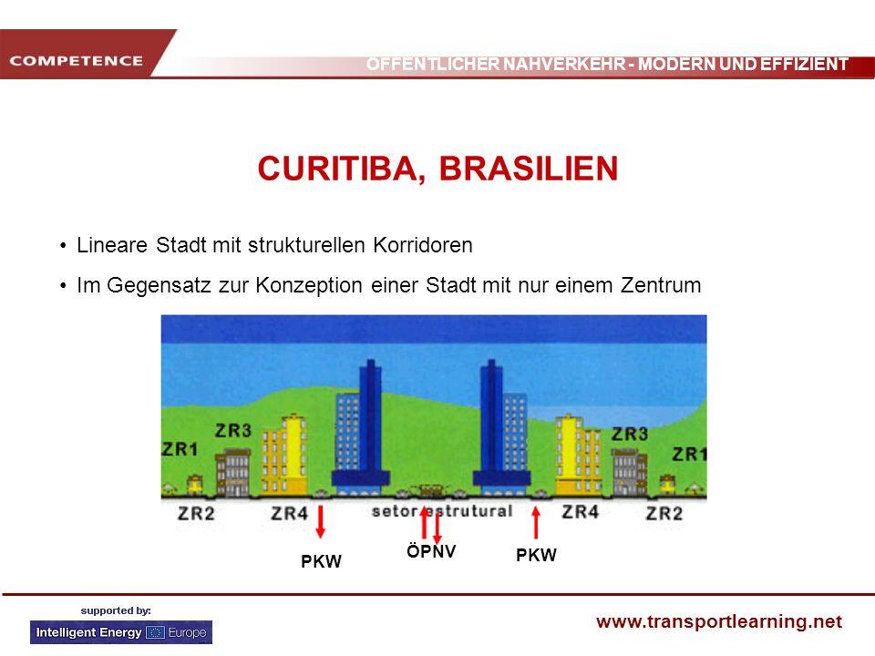 ÖFFENTLICHER NAHVERKEHR - MODERN UND EFFIZIENT www.transportlearning.net CURITIBA, BRASILIEN Lineare Stadt mit strukturellen Korridoren Im Gegensatz z