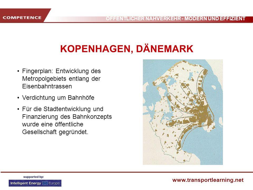 ÖFFENTLICHER NAHVERKEHR - MODERN UND EFFIZIENT www.transportlearning.net KOPENHAGEN, DÄNEMARK Fingerplan: Entwicklung des Metropolgebiets entlang der