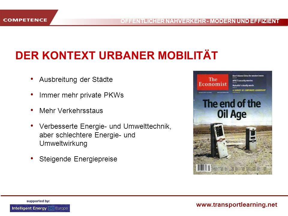 ÖFFENTLICHER NAHVERKEHR - MODERN UND EFFIZIENT www.transportlearning.net AUSWIRKUNG VORHANDENER PARKFLÄCHEN PKWÖPNVAndere Verkehrsarten Gesamt Besançon Parkplatz garantiert Parkplatz nicht garantiert 90% 46% 6% 29% 4% 25% 100% Grenoble Parkplatz garantiert Parkplatz nicht garantiert 94% 53% 3% 29% 3% 18% 100% Toulouse Parkplatz garantiert Parkplatz nicht garantiert 99% 41% 1% 24% 0% 35% 100% Bern Parkplatz garantiert Parkplatz nicht garantiert 95% 13% 3% 55% 2% 32% 100% Genf Parkplatz garantiert Parkplatz nicht garantiert 93% 36% 3% 25% 4% 39% 100%