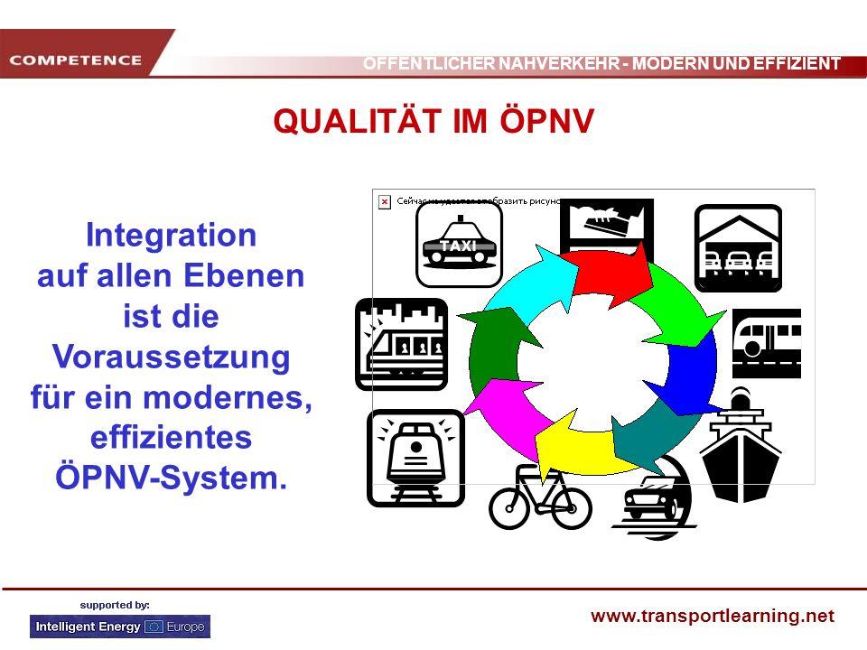 ÖFFENTLICHER NAHVERKEHR - MODERN UND EFFIZIENT www.transportlearning.net QUALITÄT IM ÖPNV Integration auf allen Ebenen ist die Voraussetzung für ein m