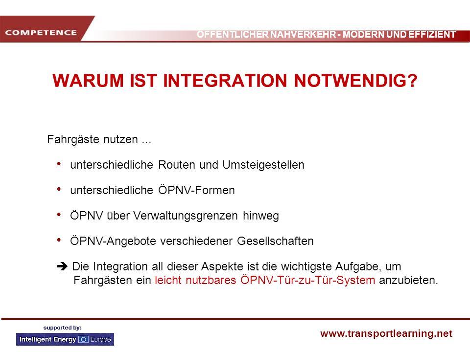 ÖFFENTLICHER NAHVERKEHR - MODERN UND EFFIZIENT www.transportlearning.net WARUM IST INTEGRATION NOTWENDIG? Fahrgäste nutzen... unterschiedliche Routen