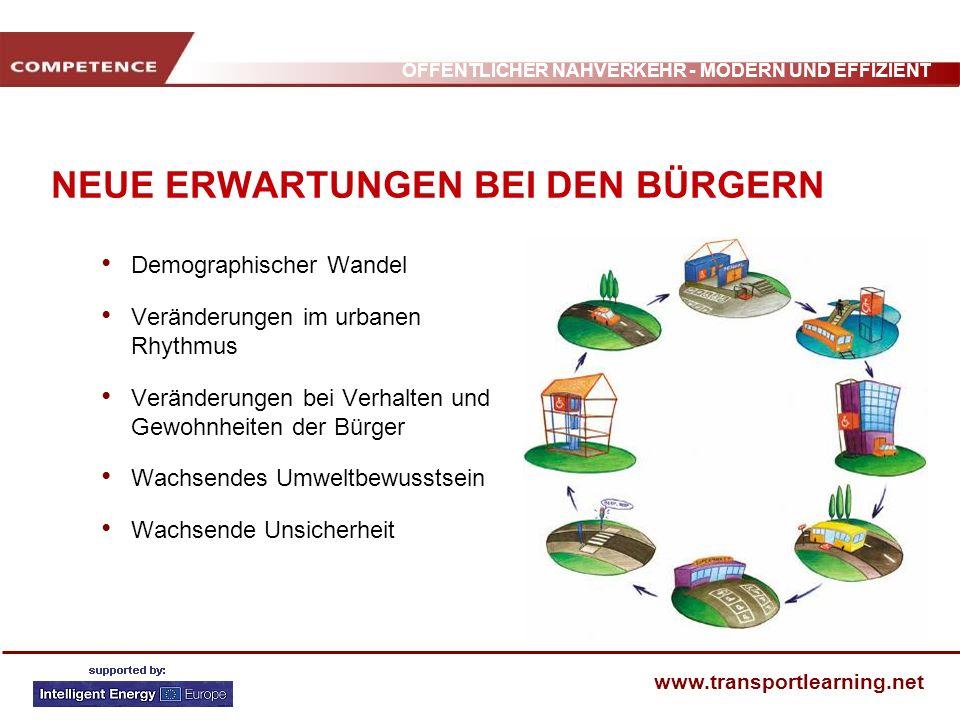 ÖFFENTLICHER NAHVERKEHR - MODERN UND EFFIZIENT www.transportlearning.net UMFASSENDE MOBILITÄT ANBIETEN Für ein umfassendes Mobilitätspaket braucht der ÖPNV eine Ergänzung durch flexible Lösungen.