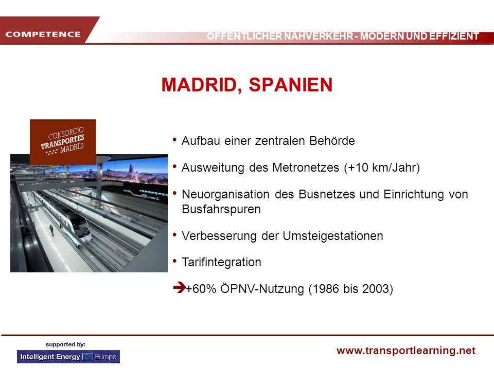 ÖFFENTLICHER NAHVERKEHR - MODERN UND EFFIZIENT www.transportlearning.net MADRID, SPANIEN Aufbau einer zentralen Behörde Ausweitung des Metronetzes (+1