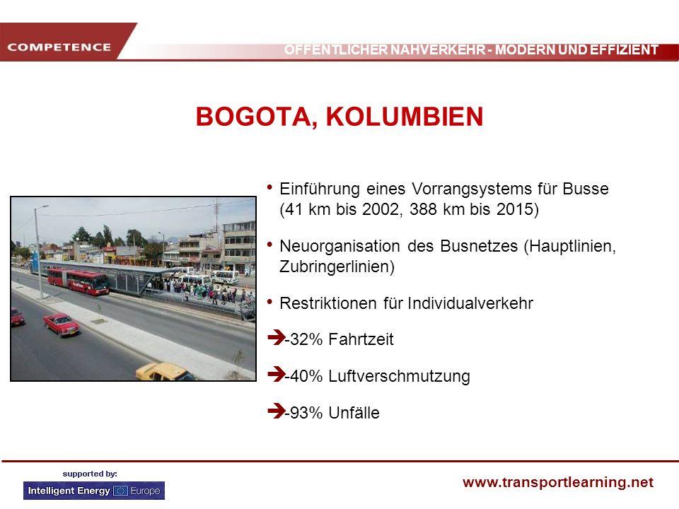 ÖFFENTLICHER NAHVERKEHR - MODERN UND EFFIZIENT www.transportlearning.net BOGOTA, KOLUMBIEN Einführung eines Vorrangsystems für Busse (41 km bis 2002,
