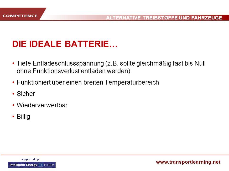 ALTERNATIVE TREIBSTOFFE UND FAHRZEUGE www.transportlearning.net DIE IDEALE BATTERIE… Tiefe Entladeschlussspannung (z.B. sollte gleichmäßig fast bis Nu