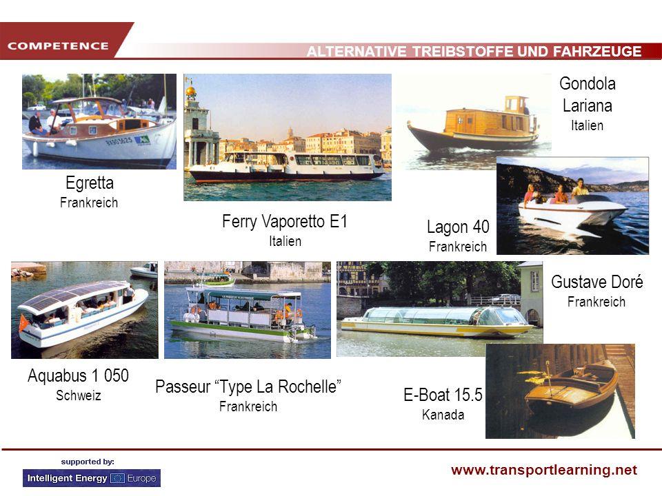 ALTERNATIVE TREIBSTOFFE UND FAHRZEUGE www.transportlearning.net Aquabus 1 050 Schweiz Egretta Frankreich Gustave Doré Frankreich Ferry Vaporetto E1 It