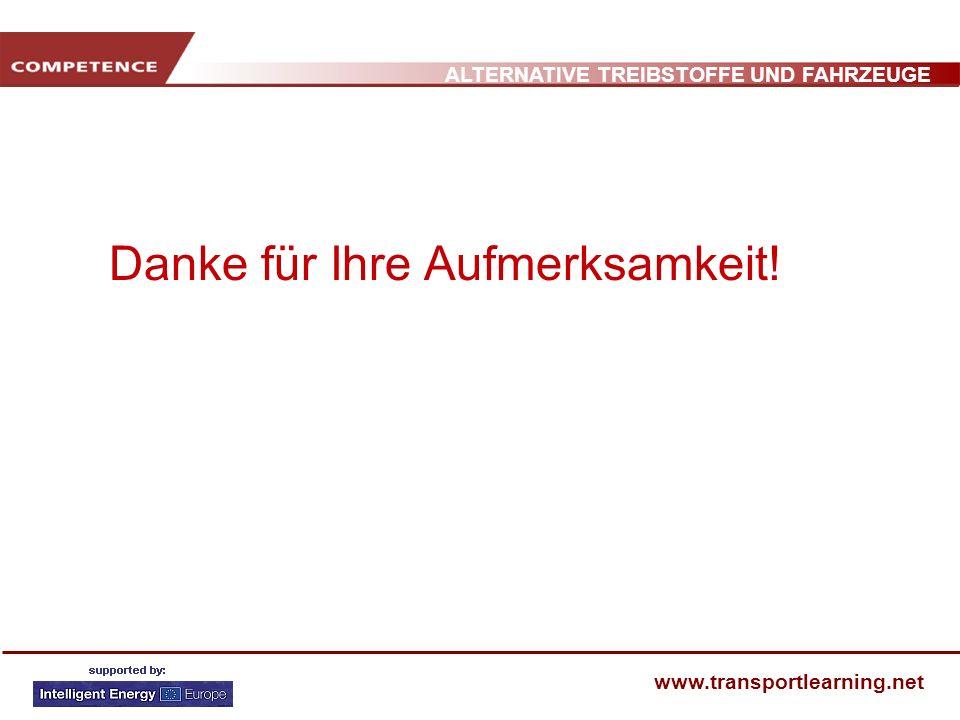 ALTERNATIVE TREIBSTOFFE UND FAHRZEUGE www.transportlearning.net Danke für Ihre Aufmerksamkeit!