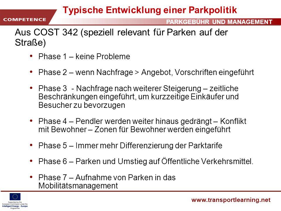 PARKGEBÜHR UND MANAGEMENT www.transportlearning.net Typische Entwicklung einer Parkpolitik Aus COST 342 (speziell relevant für Parken auf der Straße)