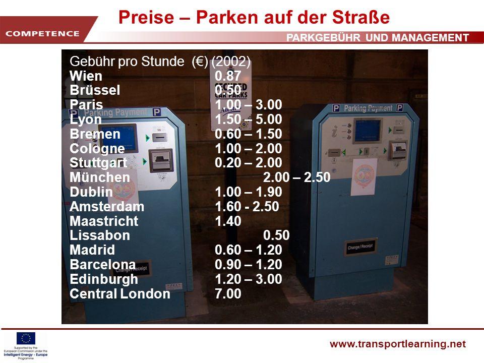 PARKGEBÜHR UND MANAGEMENT www.transportlearning.net Preise – Parken auf der Straße Gebühr pro Stunde () (2002) Wien0.87 Brüssel0.50 Paris1.00 – 3.00 L