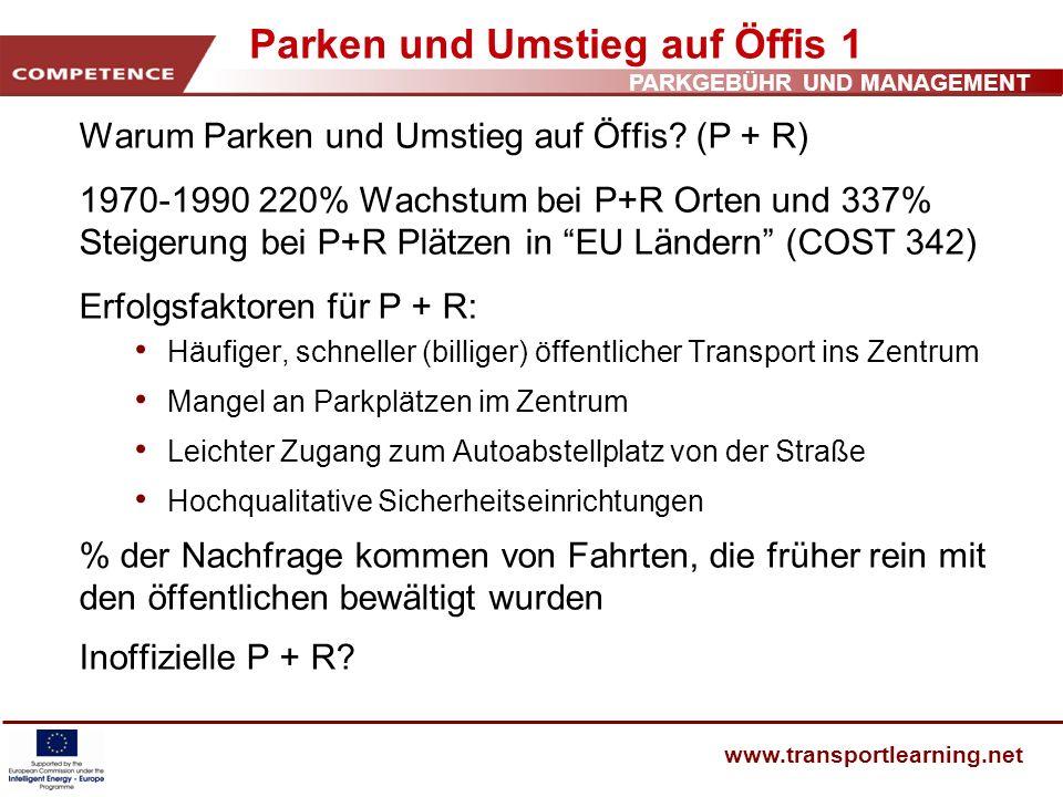 PARKGEBÜHR UND MANAGEMENT www.transportlearning.net Parken und Umstieg auf Öffis 1 Warum Parken und Umstieg auf Öffis? (P + R) 1970-1990 220% Wachstum