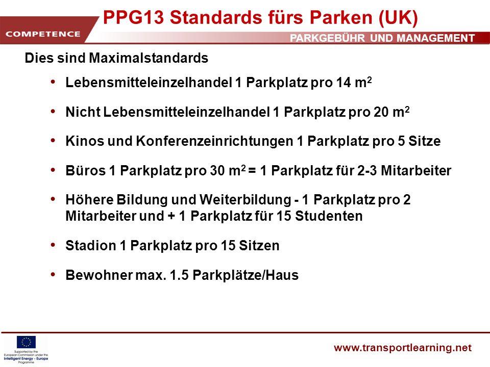 PARKGEBÜHR UND MANAGEMENT www.transportlearning.net PPG13 Standards fürs Parken (UK) Dies sind Maximalstandards Lebensmitteleinzelhandel 1 Parkplatz p