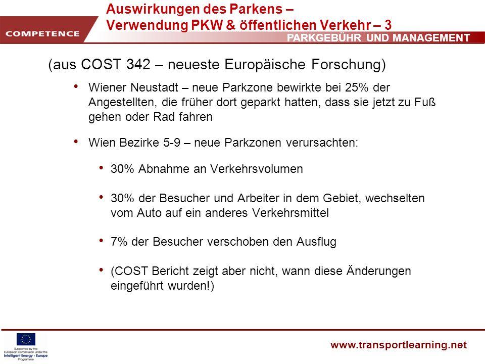 PARKGEBÜHR UND MANAGEMENT www.transportlearning.net Auswirkungen des Parkens – Verwendung PKW & öffentlichen Verkehr – 3 (aus COST 342 – neueste Europ