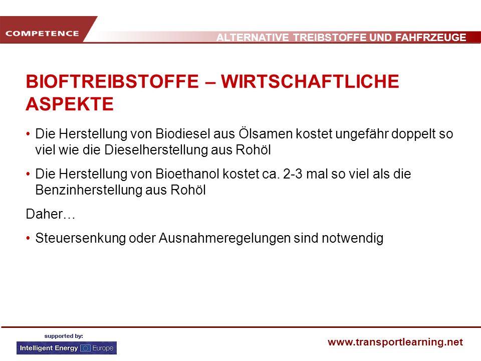 ALTERNATIVE TREIBSTOFFE UND FAHFRZEUGE www.transportlearning.net BIOFTREIBSTOFFE – WIRTSCHAFTLICHE ASPEKTE Die Herstellung von Biodiesel aus Ölsamen k