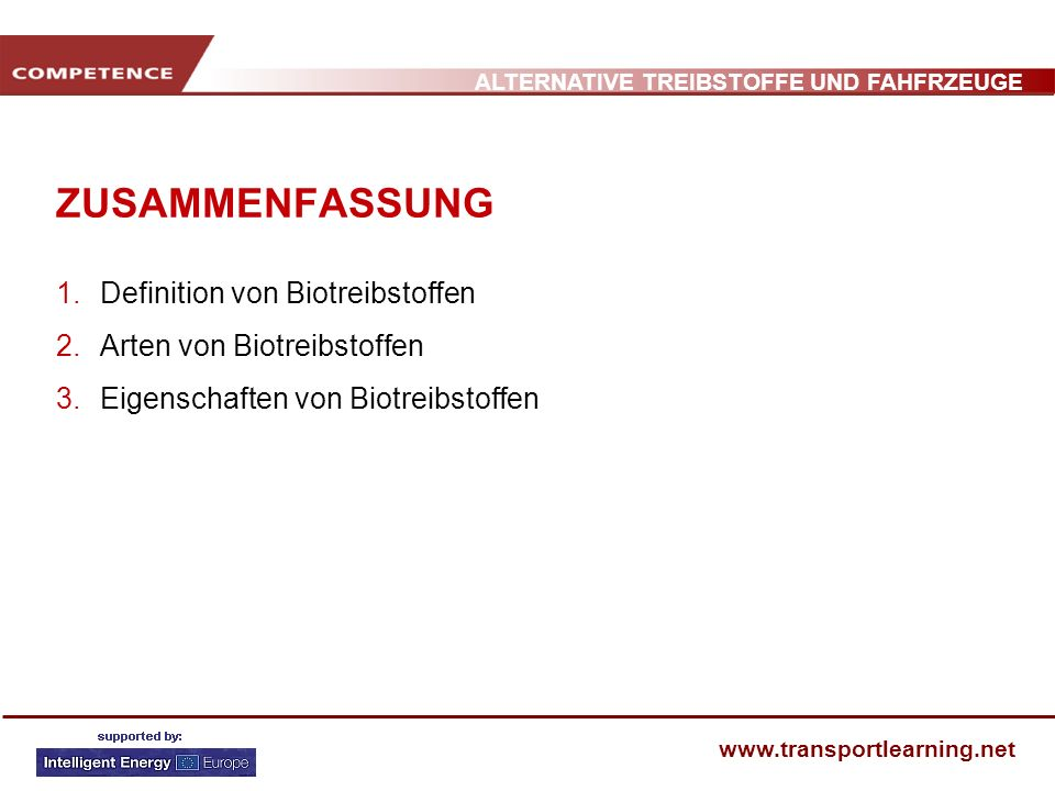 ALTERNATIVE TREIBSTOFFE UND FAHFRZEUGE www.transportlearning.net DEFINITION VON BIOTREIBSTOFFEN Biotreibstoffe sind flüssige Treibstoffe, welche aus unterschiedlichen Biomasserohstoffen hergestellt werden: Pflanzenmaterialien Getreide/Saaten Wiederaufbereitete oder überschüssige Pflanzenöle Biotreibstoffe können bei internen Verbrennungsmotoren – als Ersatz oder als Benzin - und Dieselergänzung eingesetzt und beigemengt werden.