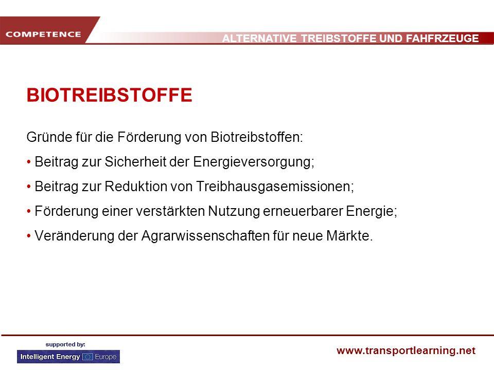ALTERNATIVE TREIBSTOFFE UND FAHFRZEUGE www.transportlearning.net BIOTREIBSTOFFE Gründe für die Förderung von Biotreibstoffen: Beitrag zur Sicherheit d