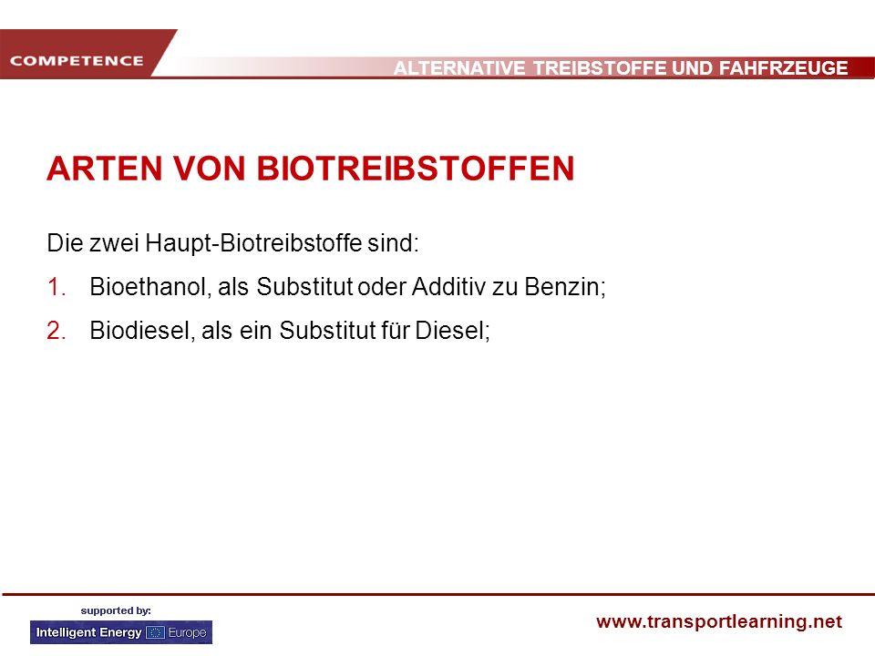 ALTERNATIVE TREIBSTOFFE UND FAHFRZEUGE www.transportlearning.net ARTEN VON BIOTREIBSTOFFEN Die zwei Haupt-Biotreibstoffe sind: 1. Bioethanol, als Subs