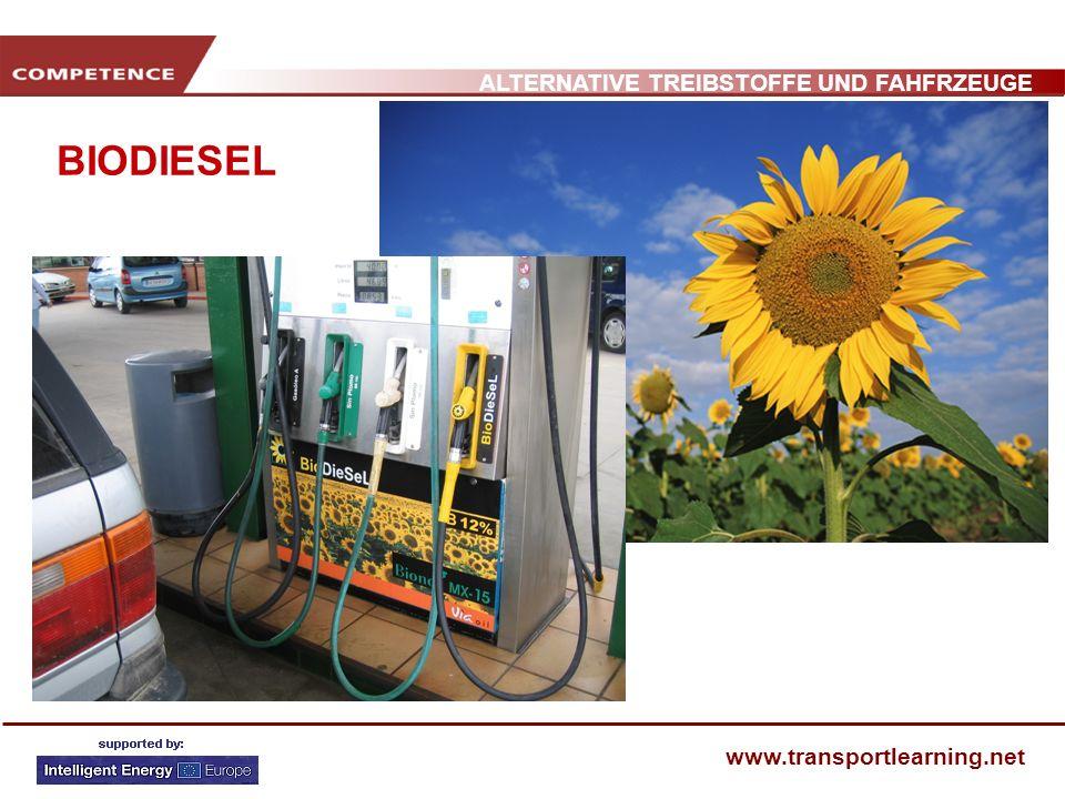 ALTERNATIVE TREIBSTOFFE UND FAHFRZEUGE www.transportlearning.net BIODIESEL Biodiesel ist ein allgemeiner Name für Methylester aus organischem Ausgangsmaterial.
