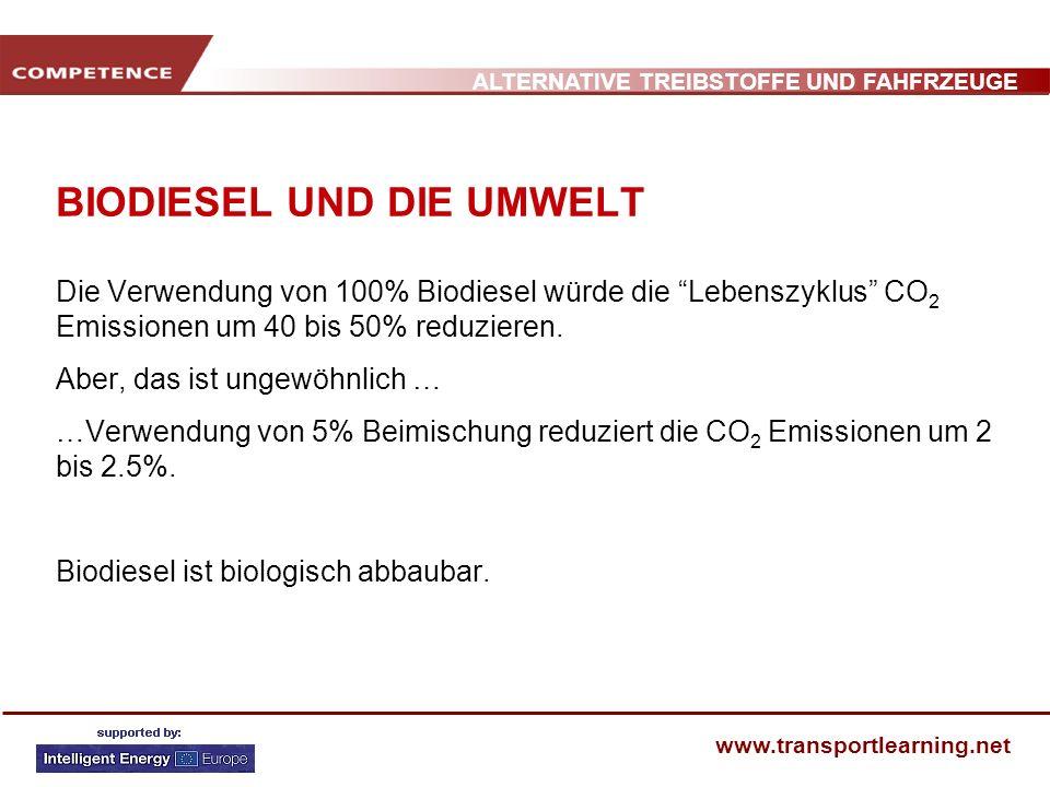 ALTERNATIVE TREIBSTOFFE UND FAHFRZEUGE www.transportlearning.net BIODIESEL UND DIE UMWELT Die Verwendung von 100% Biodiesel würde die Lebenszyklus CO