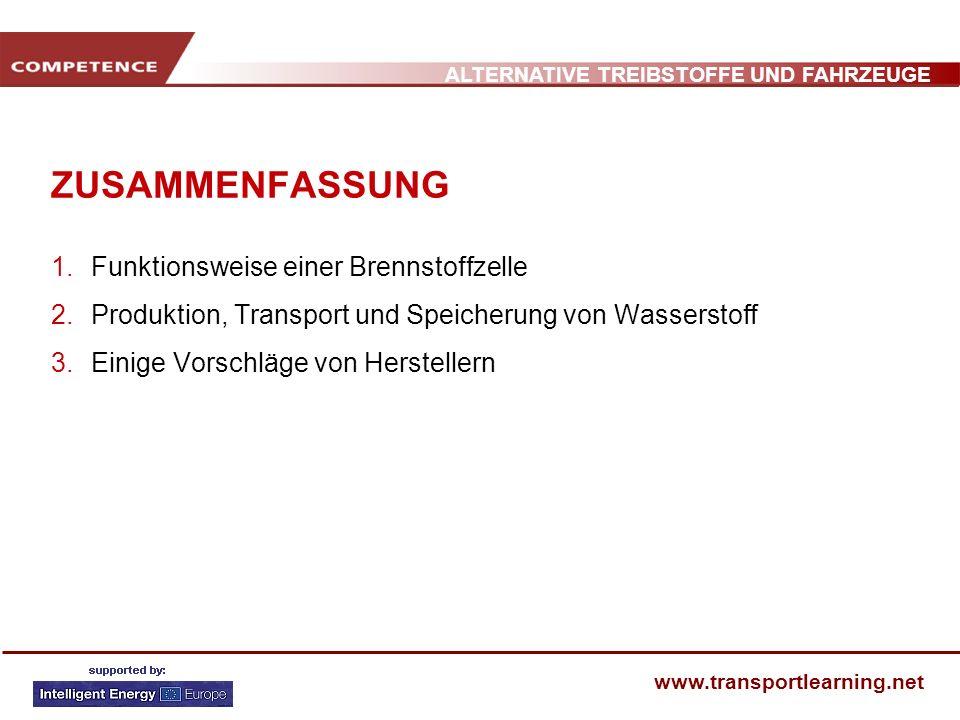ALTERNATIVE TREIBSTOFFE UND FAHRZEUGE www.transportlearning.net PRODUKTION, TRANSPORT UND SPEICHERUNG VON H 2 2.