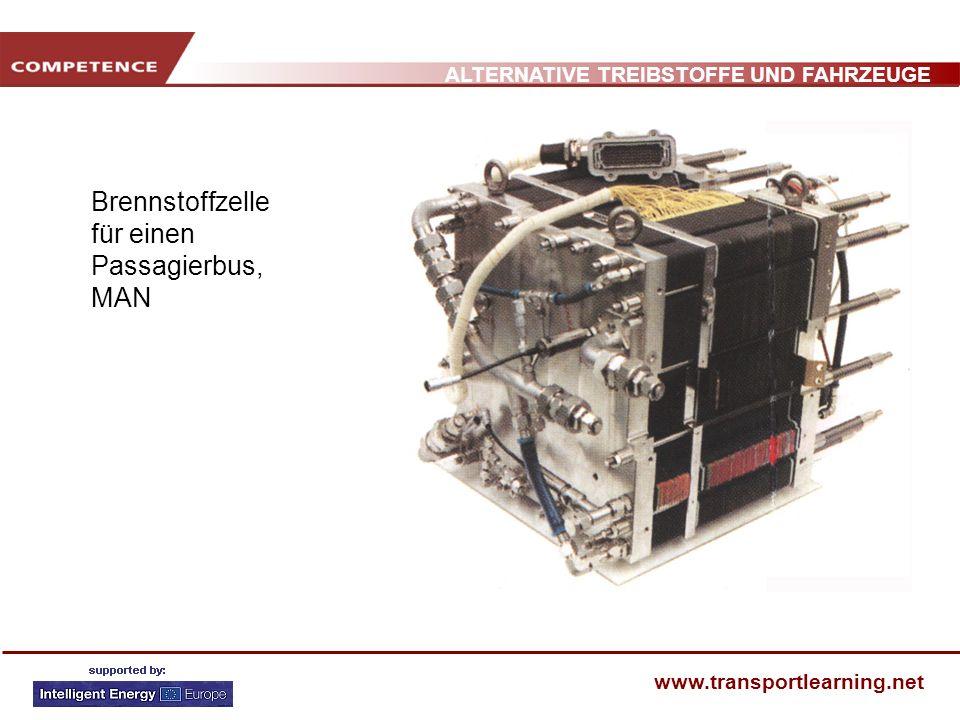 ALTERNATIVE TREIBSTOFFE UND FAHRZEUGE www.transportlearning.net ZUKÜNFTIGE HERAUSFORDERUNGEN Kosten: 400 /kW (7 facher Preis eines herkömmlichen Motors) Gesamte Zelle: 20.000 (Motor 3.000) Verlässlichkeit Probleme mit niedrigen Temperaturen (unter 0 ºC) H 2 Kontaminierung Fahrzeuganpassung Benötigt Wasserstoff (Produktion, Transport und Speicherung)!!