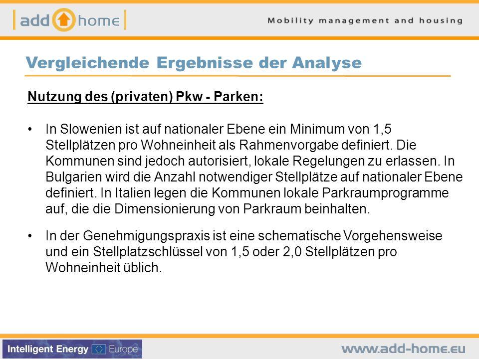 Vergleichende Ergebnisse der Analyse Nutzung des (privaten) Pkw - Parken: In Slowenien ist auf nationaler Ebene ein Minimum von 1,5 Stellplätzen pro W